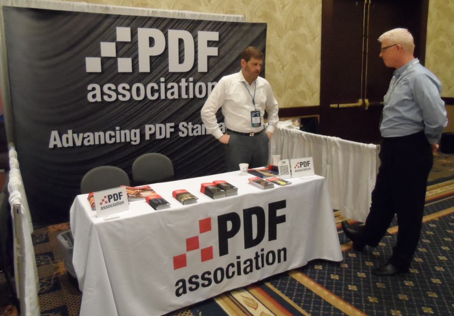 Duff Johnson and Dave Hook at the PDF Association booth.
