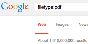 Google filetype search for