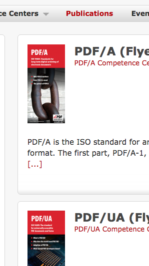 Screen-shot of flyers on the PDF Association website.