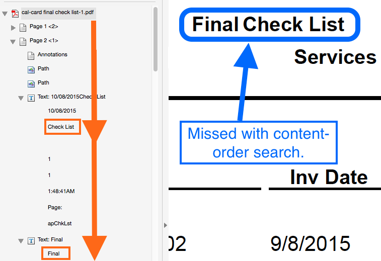 Screenshot showing a difference between content order and logical reading order.