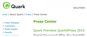 Quark press release screen-shot