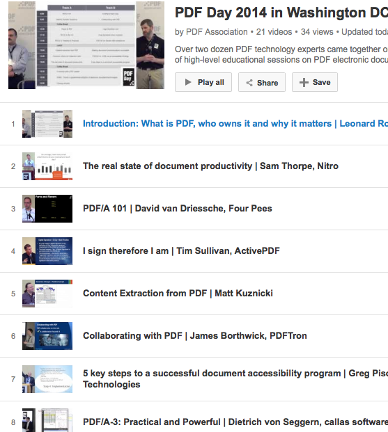 Screen-shot of PDF Day video playlist