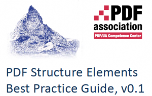 Screenshot of the cover of the 0.1 release of the Structure Elements Best Practice Guide
