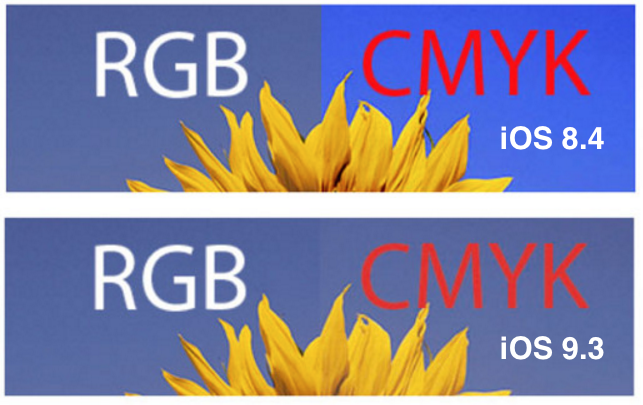 RGB vs. CMYK rendering on iOS 8.4 vs. iOS 9.3.