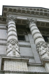 Ornate columns on a government building.