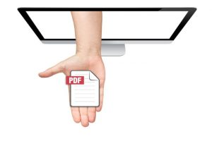 Hand-delivers PDF from a screen.