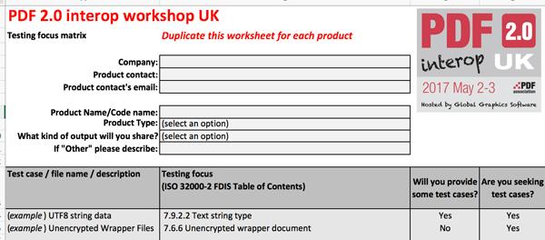 Screeb-shot of the interop matrix excel sheet.