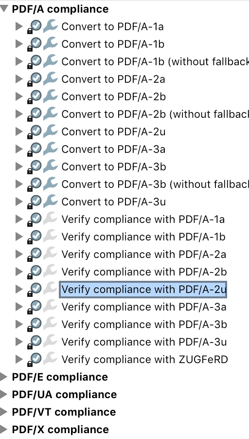 Screenshot of Preflight's list of PDF/A parts and conformance levels.