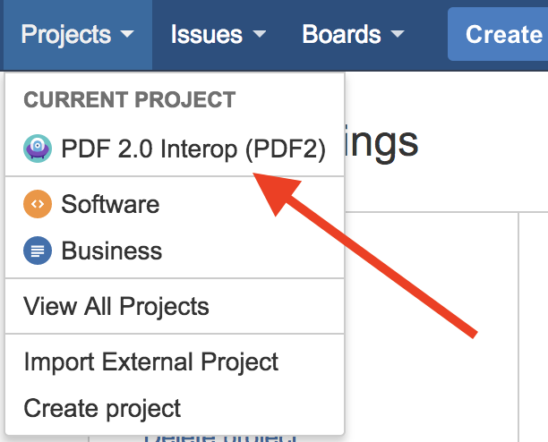 Jira project selection screenshot.
