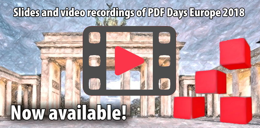 Slides and video recordings of PDF Days Europe 2018