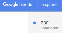 "Screen-shot of Google Trends search for ""PDF""."