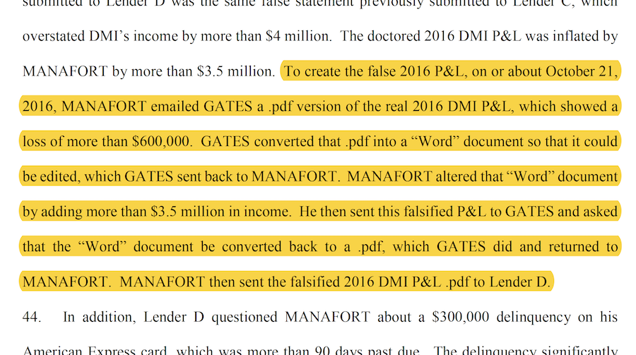 Manafort indictment screenshot