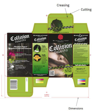 Screenshot showing die-cut for a package.