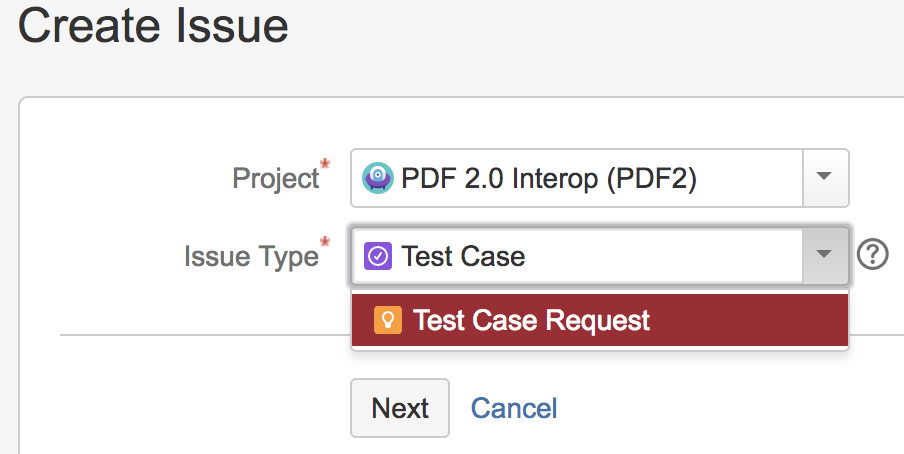 New issue dialog; choose test file or test-request.