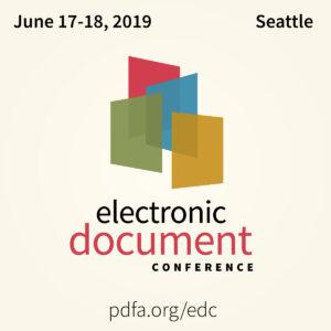 EDC logo, pdfa.org/edc