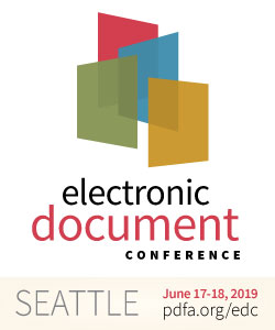 EDC logo, June 17-18 2019, Seattle. pdfa.org/edc