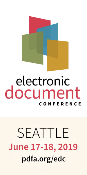 EDC logo, June 17-18 2019 Seattle pdfa.org/edc