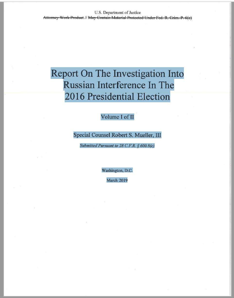Screen shot of the cover of the Mueller Report