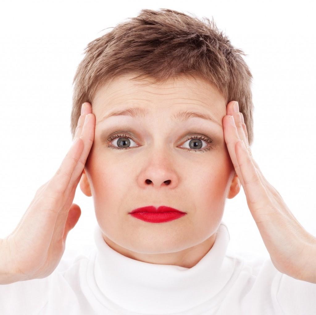 Woman showing stress.