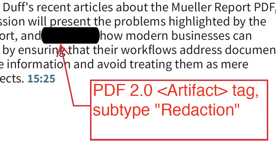 "Screenshot indicating a redaction with Artifact tag and subtype of ""Redaction""."