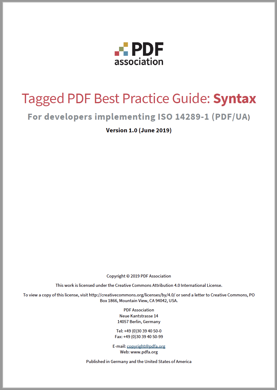 Cover of Tagged PDF Best Practice Guide.