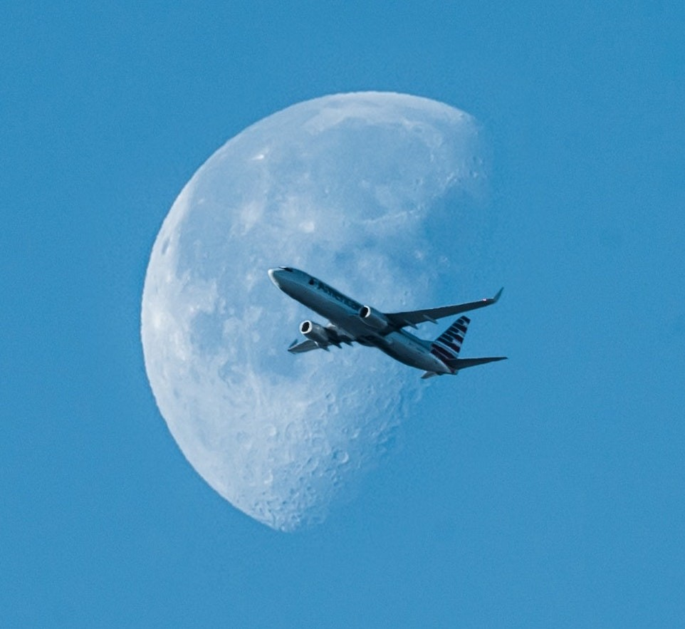 Aircraft and the moon.