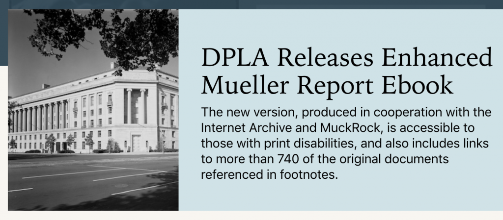 Screen shot from DPLA site announcing the release.