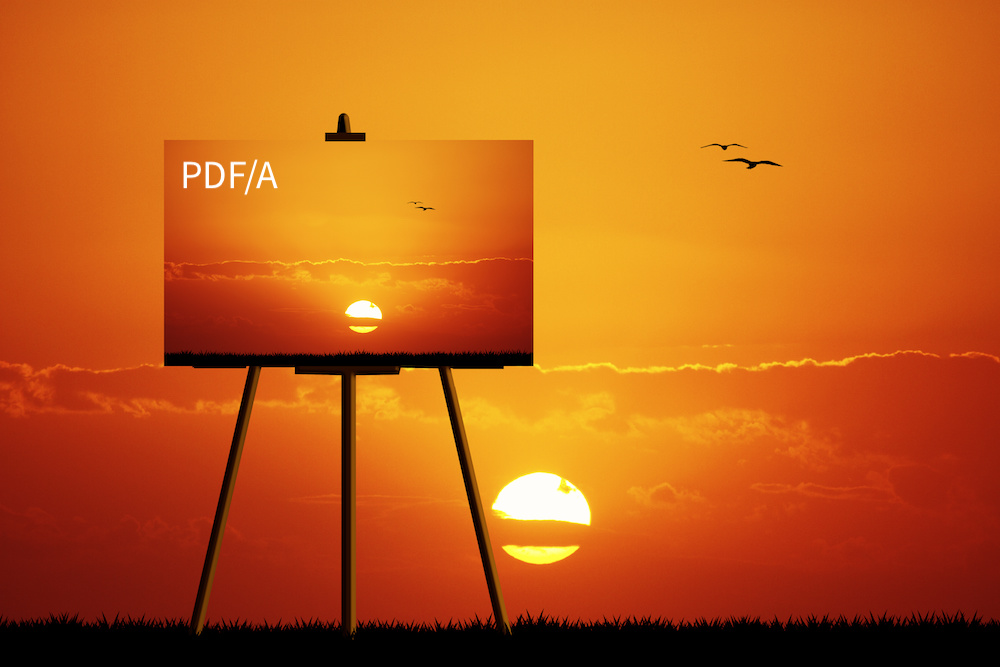 "A canvass at sunset with ""PDF/A"" on the canvas."