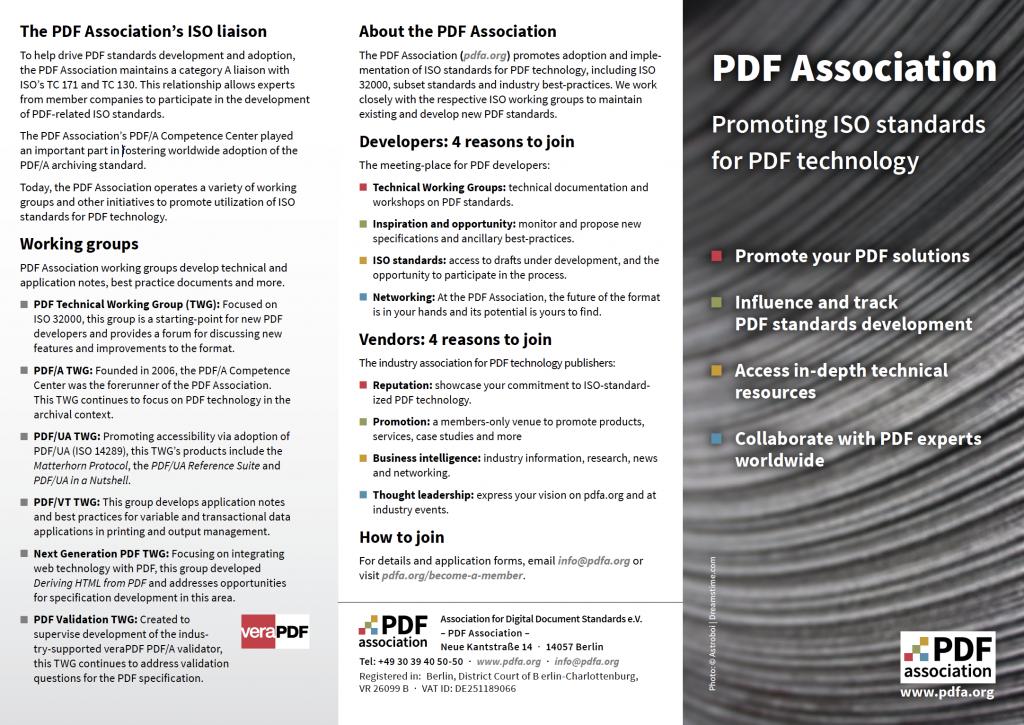 Screenshot of PDF Association flyer, page 1