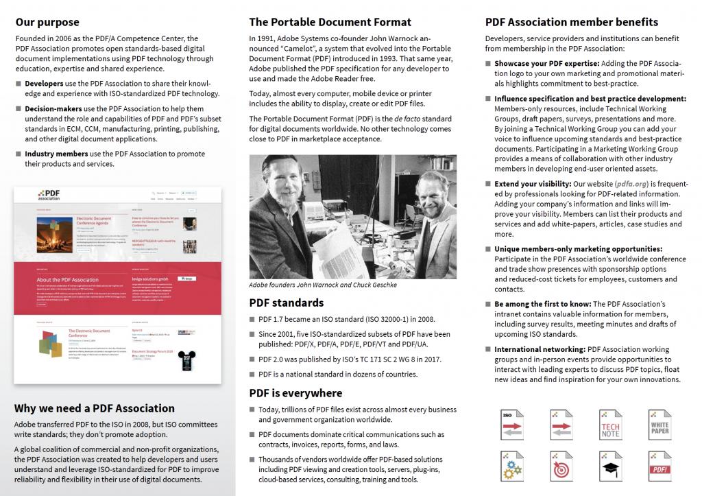 Screenshot of PDF Association flyer, page 2
