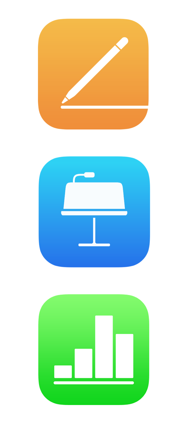 Apple's Pages, KeyNote and Numbers icons.