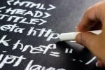 Writing code on a blackboard.