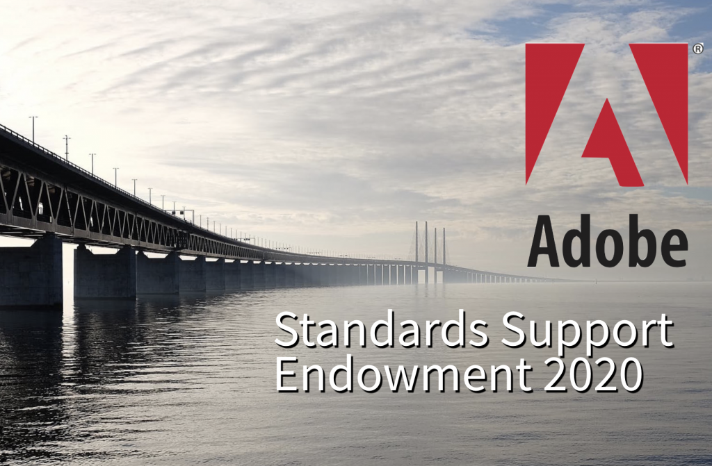 Standards Support Endowment 2020, Adobe logo.