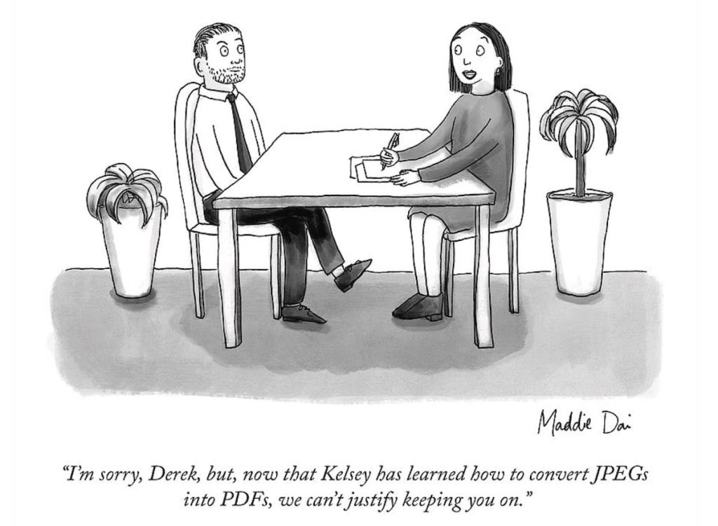 Cartoon of a boss firing an employee..