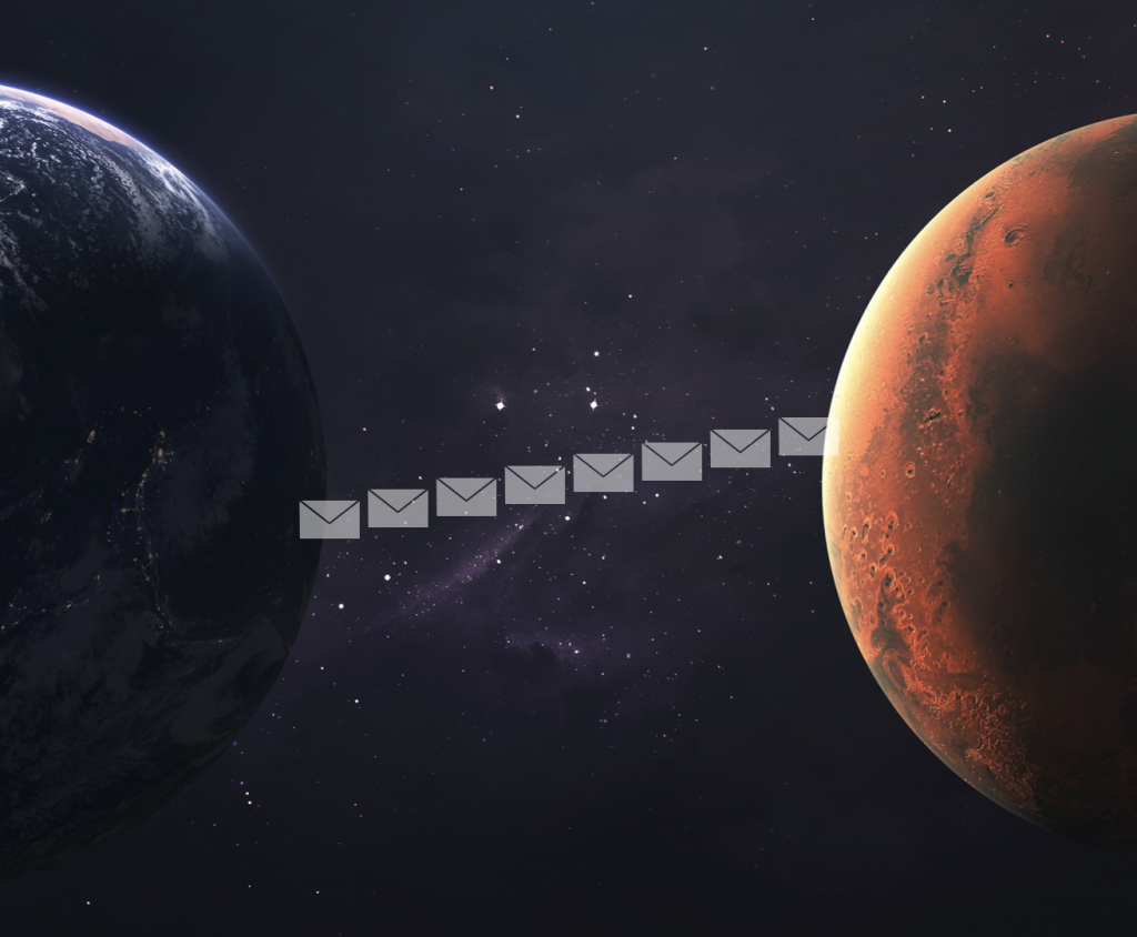 Earth and Mars connected by email.