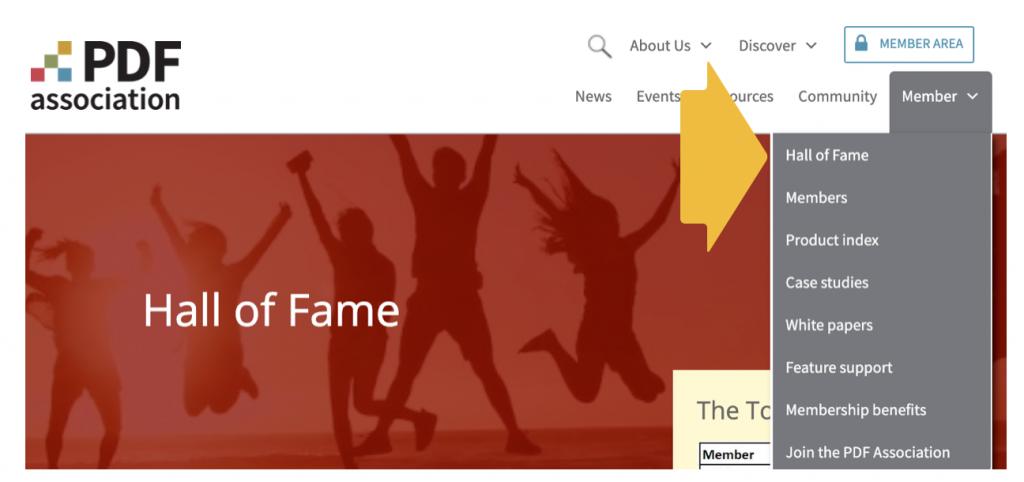 Screenshot showing Hall of Fame under Member menu.