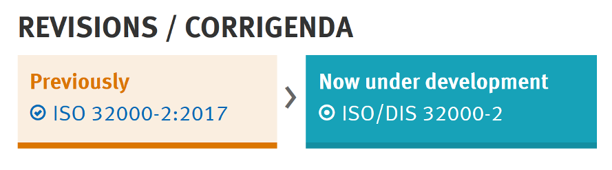 Revisions / Corrigenda, Previously ISO 32000-2:2017, now under development, ISO/DIS 32000-2