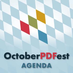 OctoberPDFest Agenda logo.