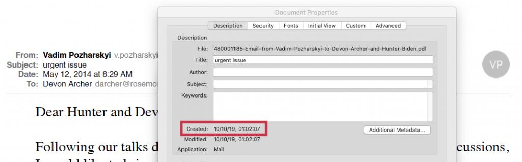 Screenshot of Biden PDF showing metadata with October, 2019 date.