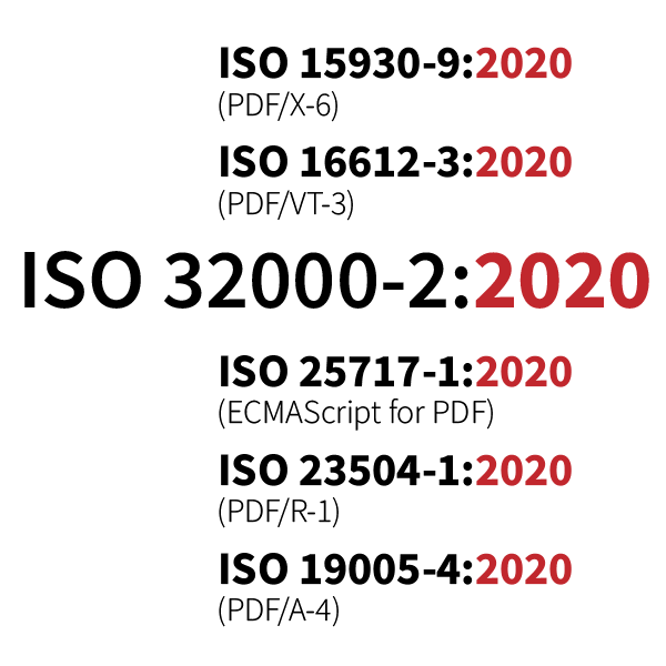 ISO 32000-2:2020 and subsets.