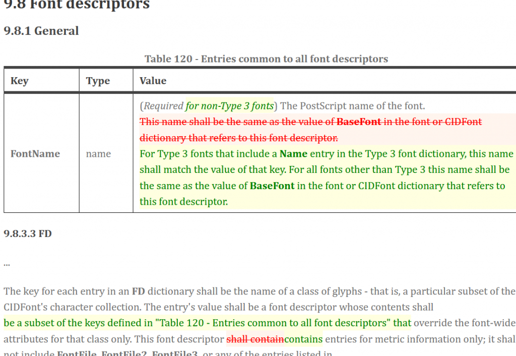 Screenshot of a PDF issue 9.8 Font descriptors some text crossed out other in green that is being inserted