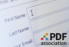 Electronic form with fields for first name, last name, and your email with the PDF Association logo.