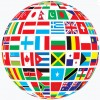 Globe with flags of nations displayed